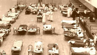 Behelfskrankenhaus zu Zeiten der Spanischen Grippe im Jahre 1918
