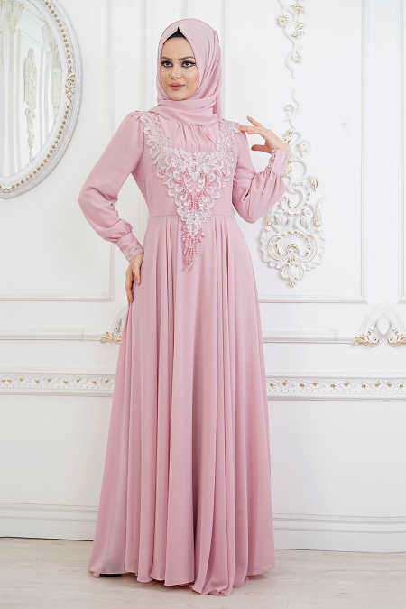 ad158db43459b Neva Style - Powder Pink Hijab Evening Dress 84790PD