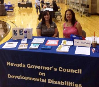 Council Chair Jodi Thornley and Projects Manager Kari Horn sit behind a table at a PACE event