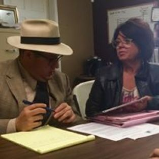 SANN Coordinator Sheree Cassingham meets with Council member Jay Aarant