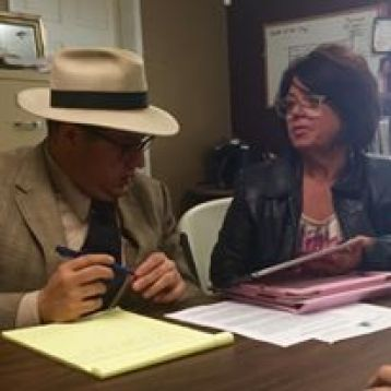 SANN Coordinator Sheree Cassingham meets with Council member Jay Aarant