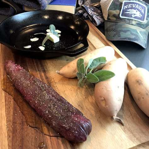 A Pronghorn Antelope Tenderloin And Sweet Potatoes, About To Be Placed In A Cast Iron Pan. Photograph By Kristy Crabtree