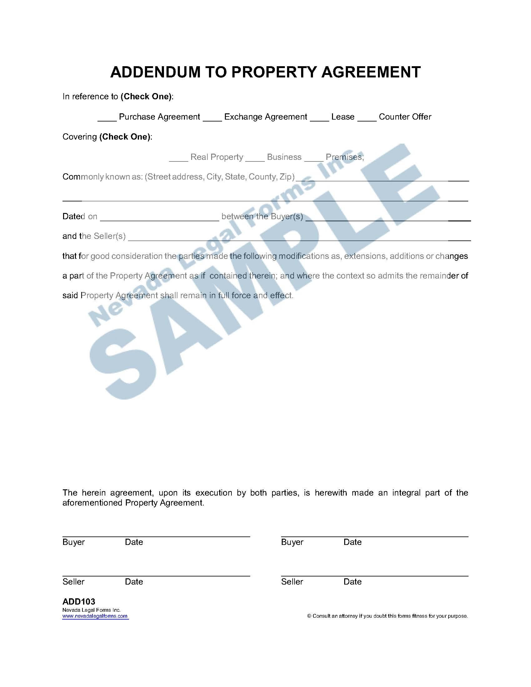Addendum To Property Agreement