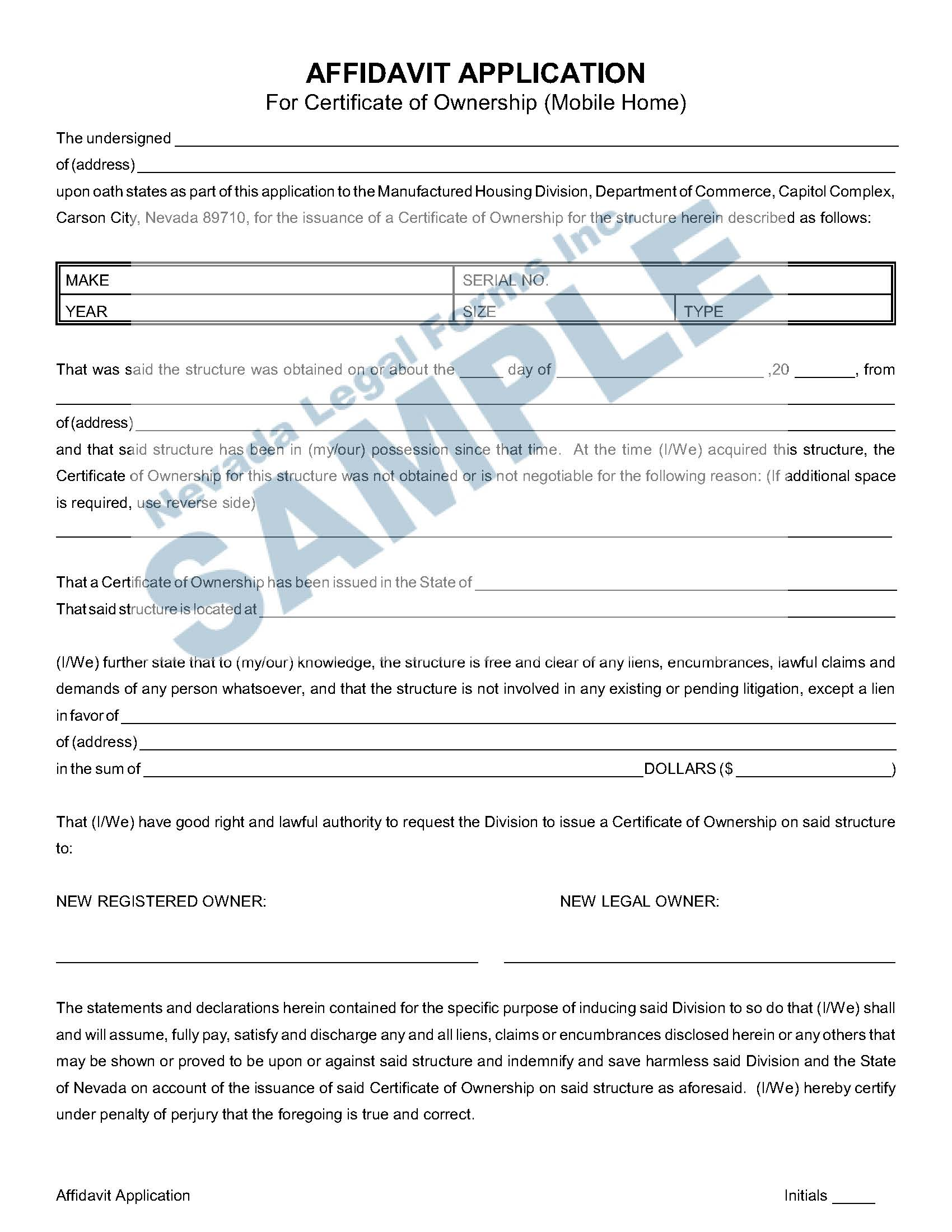 Affidavit Application For Certificate Of Ownership Mobile