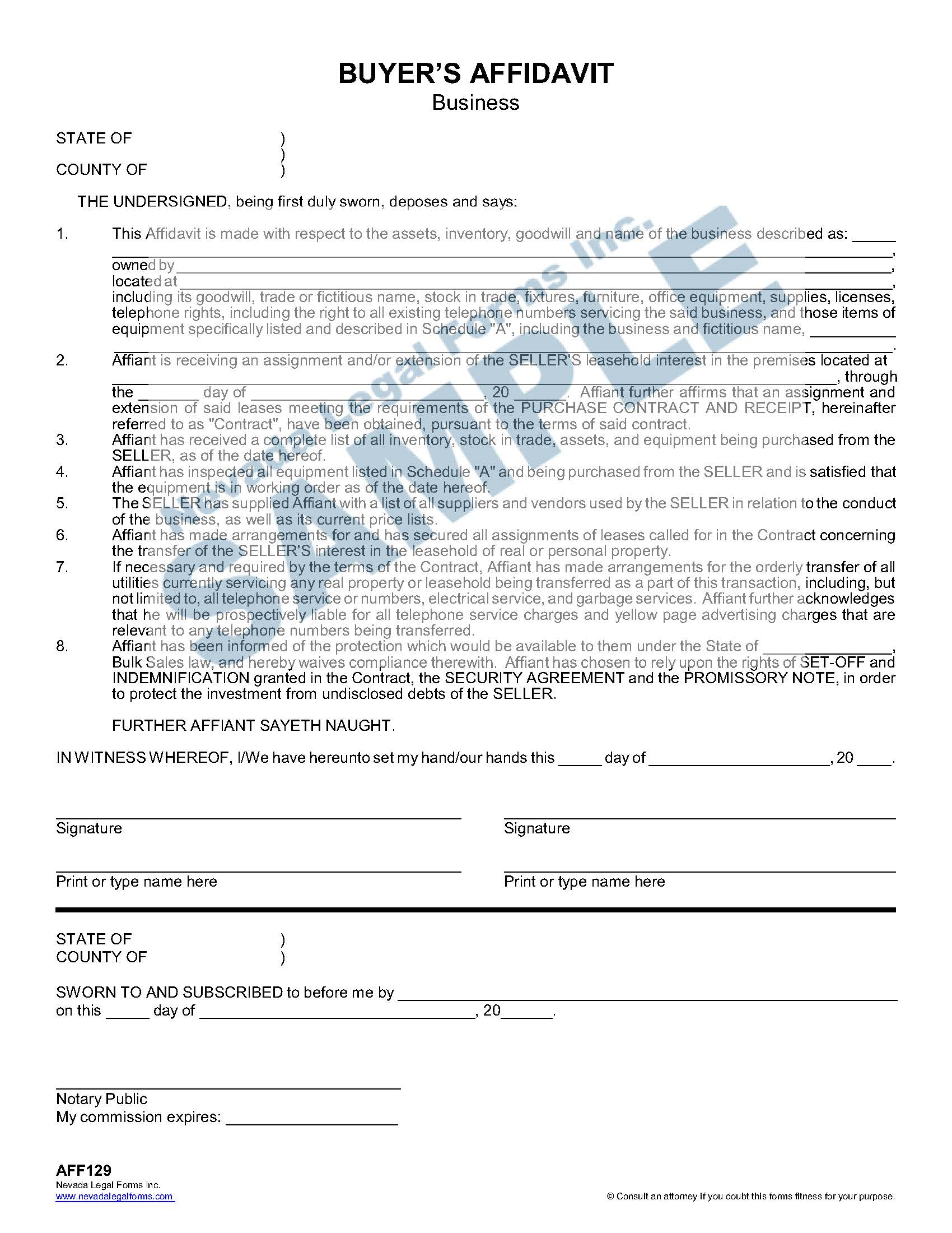 Buyer S Affidavit Business