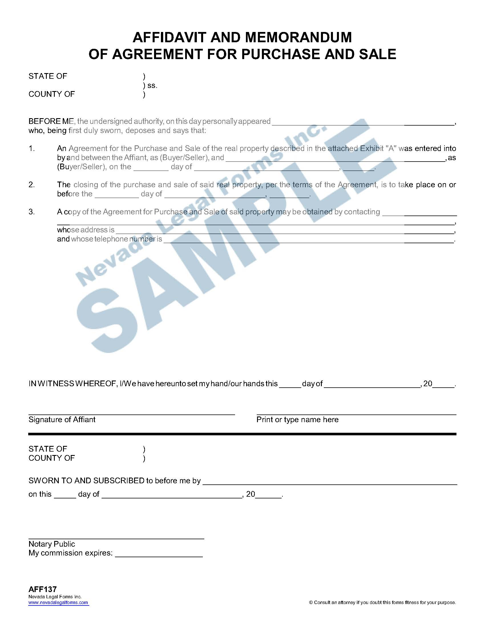 Affidavit And Memorandum Of Agreement For Purchase And