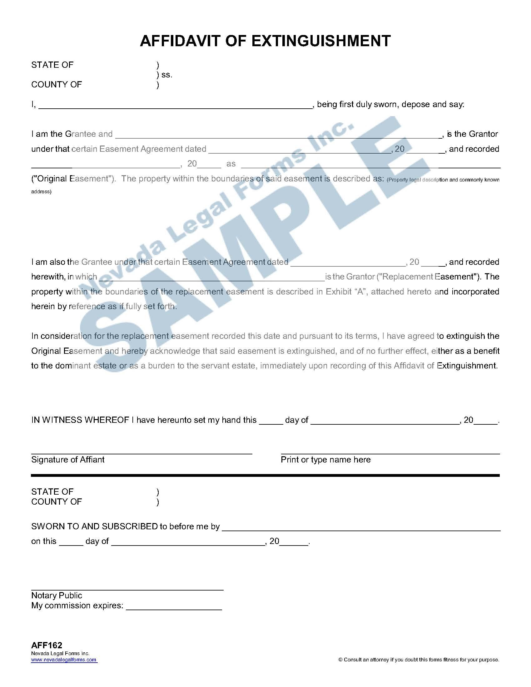 Affidavit Of Extinguishment