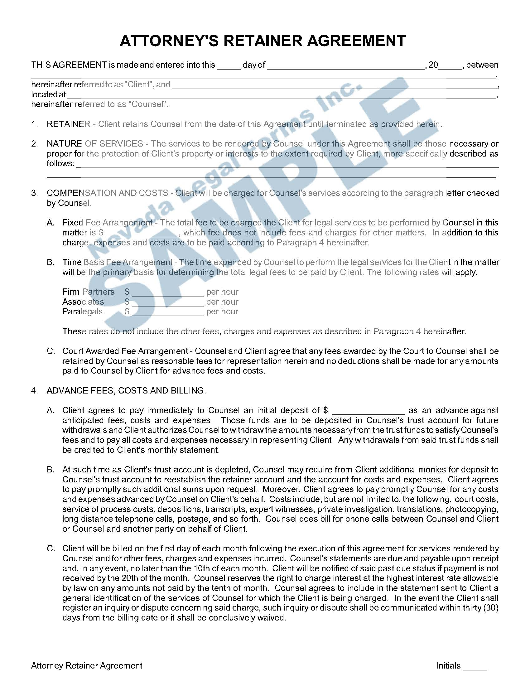 Attorney S Retainer Agreement