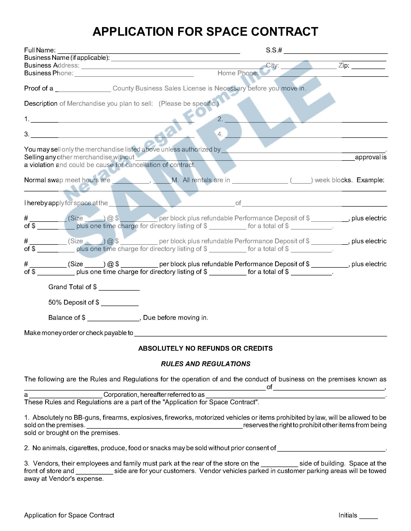 Application For Space Contract