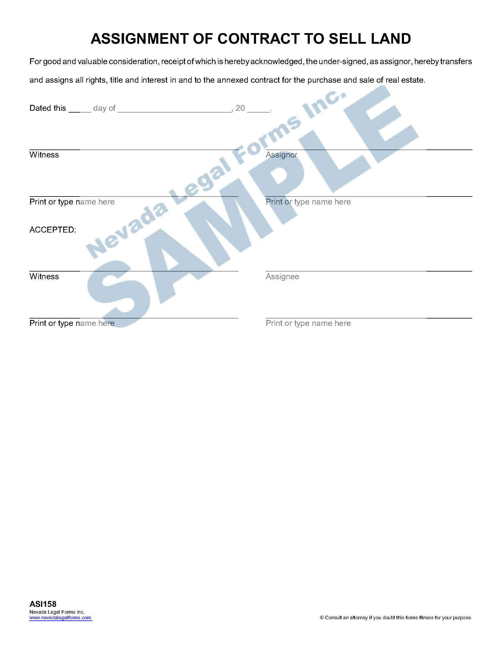 Assignment Of Contract To Sell Land