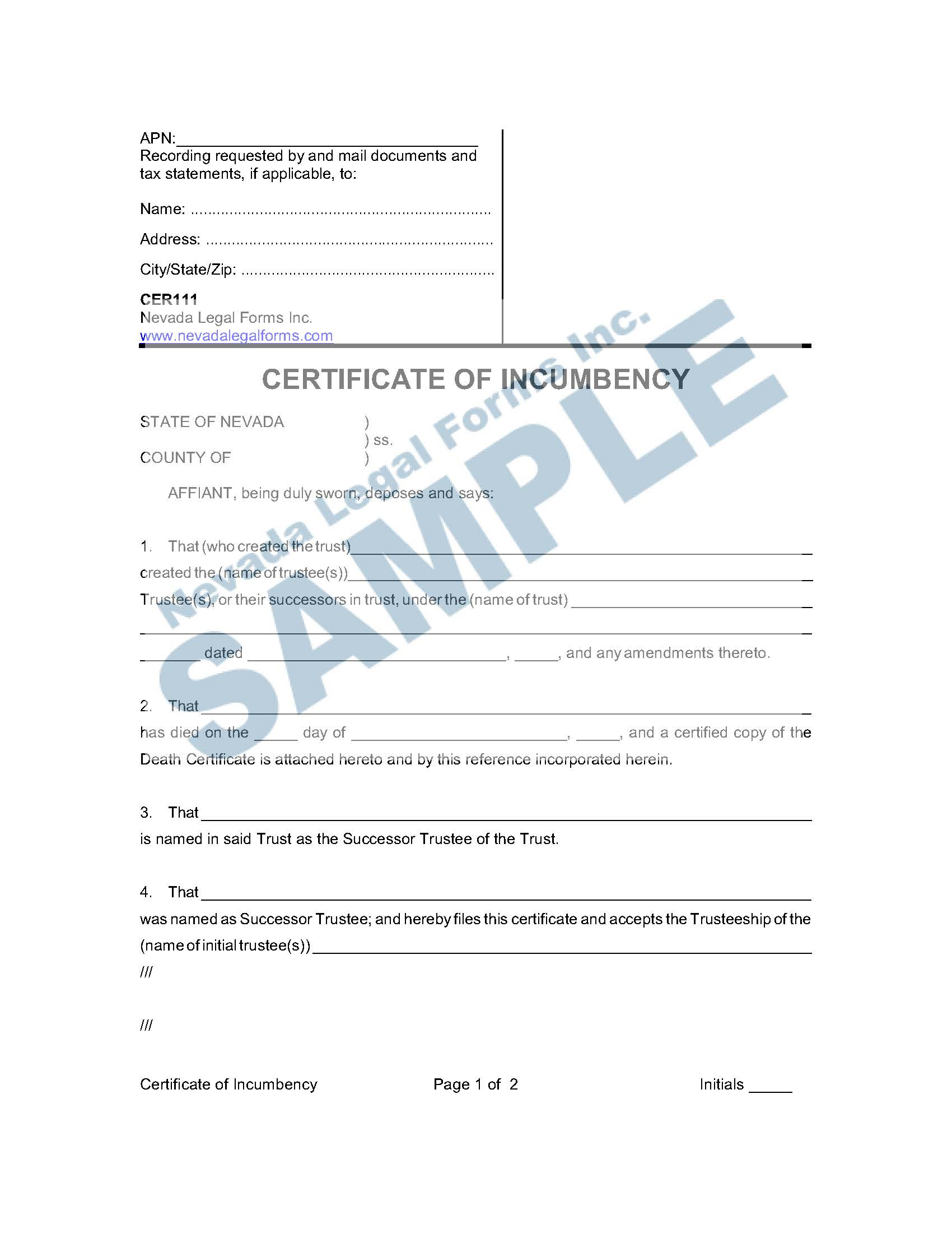 CERTIFICATE OF INCUMBENCY | Nevada Legal Forms & Services