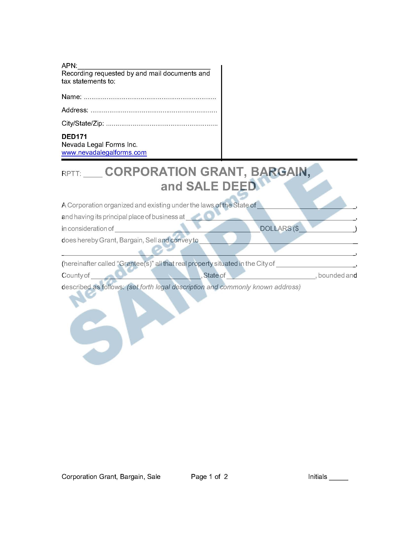 Corporation Grant Bargain And Sale Deed