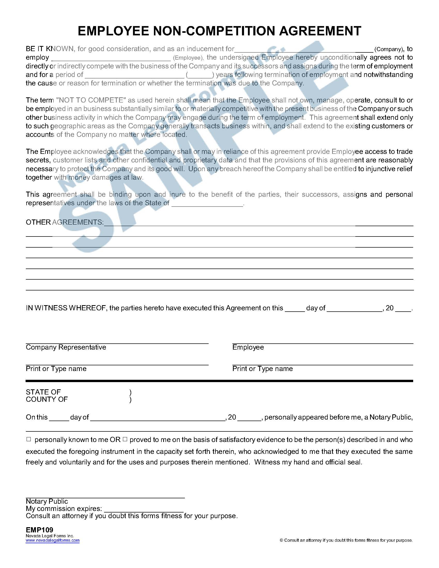 Employee Non Competition Agreement
