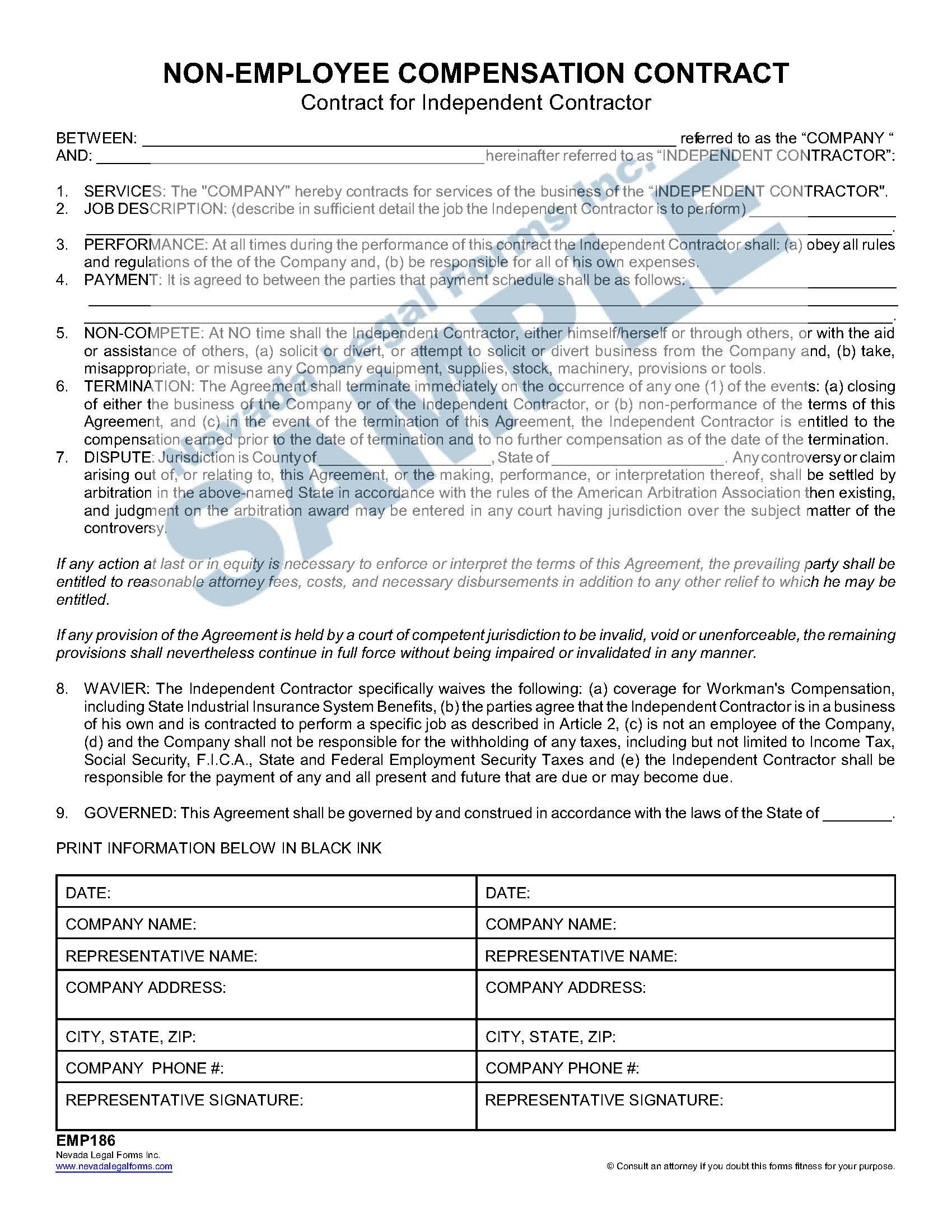 Non Employee Compensation Contract
