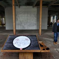 Deutsche West Bank Sculpture Park // Marker on plastic, wood, paint, binoculars, perspex, digital print of Guide Map for the drawing // Drawing 5x5m. Pedestal 1x1x1.2m // 2013