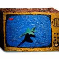 CH.4: Soft Focus Snuff // Oil on MDF, Plastic Airplane // 29x 44 x 7 cm // 2001