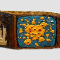 CH.32: still live GUTTER VOMIT // Oil and on MDF, Plasticine & PVA Glue // 30 x 51cm // 2002