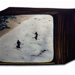 CH.81: Two Stone Age men hunting a Helicopter // Oil & Acrylic // 49 x 70 cm // 2007