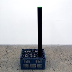 GM# 31: ECO PLANT // Plastic Bottle Crate, Plastic Pipping, Acrylic Paint // 50 x 35 x 120 cm // 2009