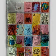 Paintaholics No 5: Shower Curtain Gallery // Price: Є 100 worth of Mars Bars // Sold // Polyurethane, Brass eyelets, Paper, Permanent Marker, Paint Marker // 130 x 160 cm // 2009