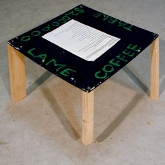 $2,000.000 Lame Coffee Table // Wood, Acrylic Paint, Screws // 60 x 60 x 40 cm // 2003