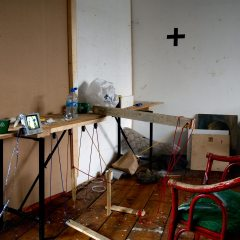 A Bad Day for Painting in a Good Way // 6 Hr. Performance // Wood, Screws, Papier Machie, Wool, Glue, Acrylic Paint, Brushes, Painters Pallet, Nylon Cord, Screw Eyes, CCTV Camera, LCD Monitor, Microphone, Amplifier, Speakers // 220 x 120 x 210 cm // 2008