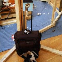Residual Residency // Suitcase, Boots, Cardboard, Digital Prints, Text // 120 x 45 x 30 cm // 2005