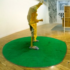 Mr Mediocre // Cardboard, Glue. Paint, Football, Gloves, Plastic Tubing, Wire, Wood, Tape, Carpet // 2.6 x 1.3 x 1 m // 2010