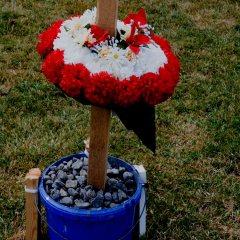 Censor Shit Shrine // Wood, Plastic Bucket, Gravel, Tie Wraps, Acrylic Paint, Permanent Marker, Plastic Funeral Wreath // 30 x 180 x 30 cm// 2006