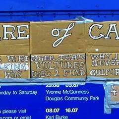 Milking Vultures Defunded Culture // Cardboard, Gaffer Tape, Paint Marker // 2005
