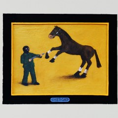 The Triple Ditch: Stubbs Butts Shergar puts up a Fight // Acrylic on Board // 63 x 42 cm // 2004