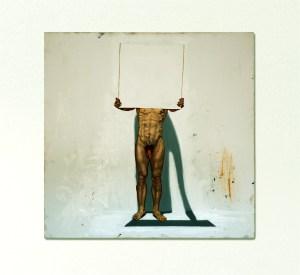 Self-Portrait hiding behind a Blank Canvas in my Freudian Slip // Oil on Canvas // 50 x 50 cm // 20005