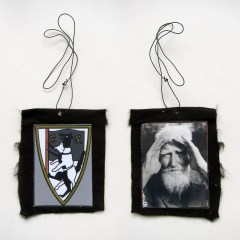 GB Shaw's Wolves in Fine Clothing (Meditated Media Medals) // Laminated Digital Print, Felt, Eyelet, Glue, Wire // 13 x 10 cm // 2016