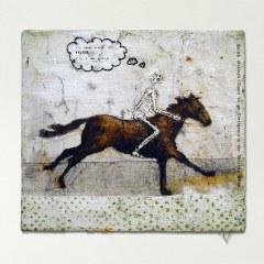 Go On Ya Good Thing (after Bruegel) // Oil on Canvas, Letraset, Glue // 44 x 40 cm // 2001