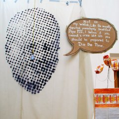 Big Mick Mac // Polyurethane, Permanent Marker, Brown Sauce, Rope// 500 x 250 cm // 2005