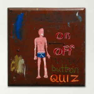 The Third Nipple // Oil on Board, Flashing LED // 46 x 46 cm // 2002