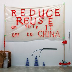 Made & Dumped in China // Polyurethane, Cardboard, String, Bamboo, Tape, Paint Tin // 190 x 210 x 30 cm// 2006
