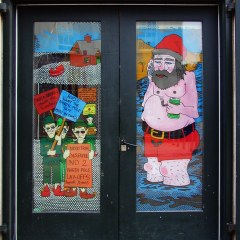 Poles Apart: Santa's Summer Holliers (Mid-Summer Window Painting on Door for Semi-Private Studio) // Acrylic & Permanent Marker on Glass // 320 x 200 cm // 2005