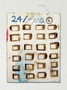 Twombly's Heroic 1 Second Battle // Oil on Board, Wire, Plastic Tweety Bird // 60 x 80 cm // 2001