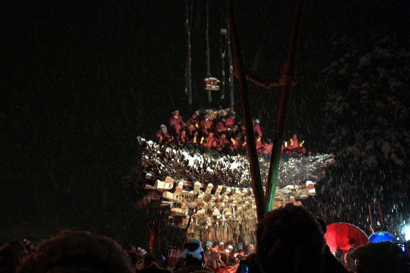 Shaden de madera que forma la parte principal del festival.