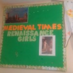 Bulletin board ready for year 2 of chronological history, medieval history.