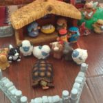 The Little People manger scene has been a great tool to act out the Christmas story. I am not sure if the tortoise was actually there.