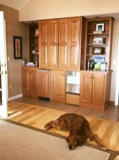 Bean sleeping in front of cabinet