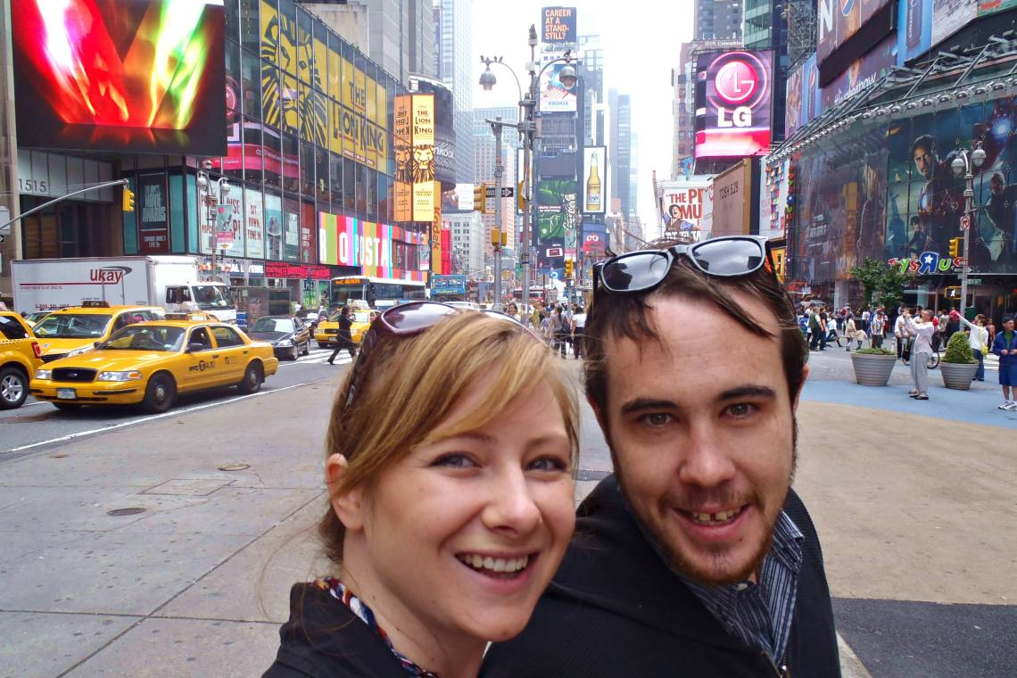 Jacqui and Dan in Times Square, New York City