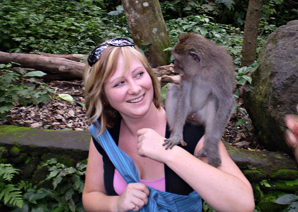 Playing around at the Monkey Forrest in Bali