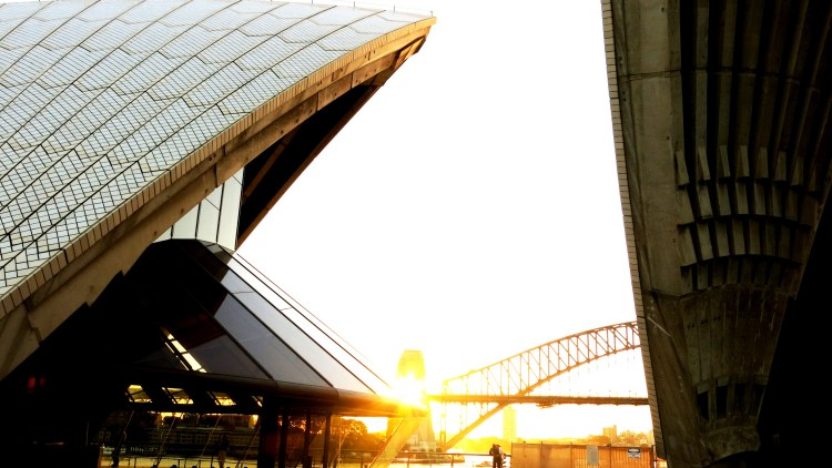 Sydney Harbour Bridge through the Opera House