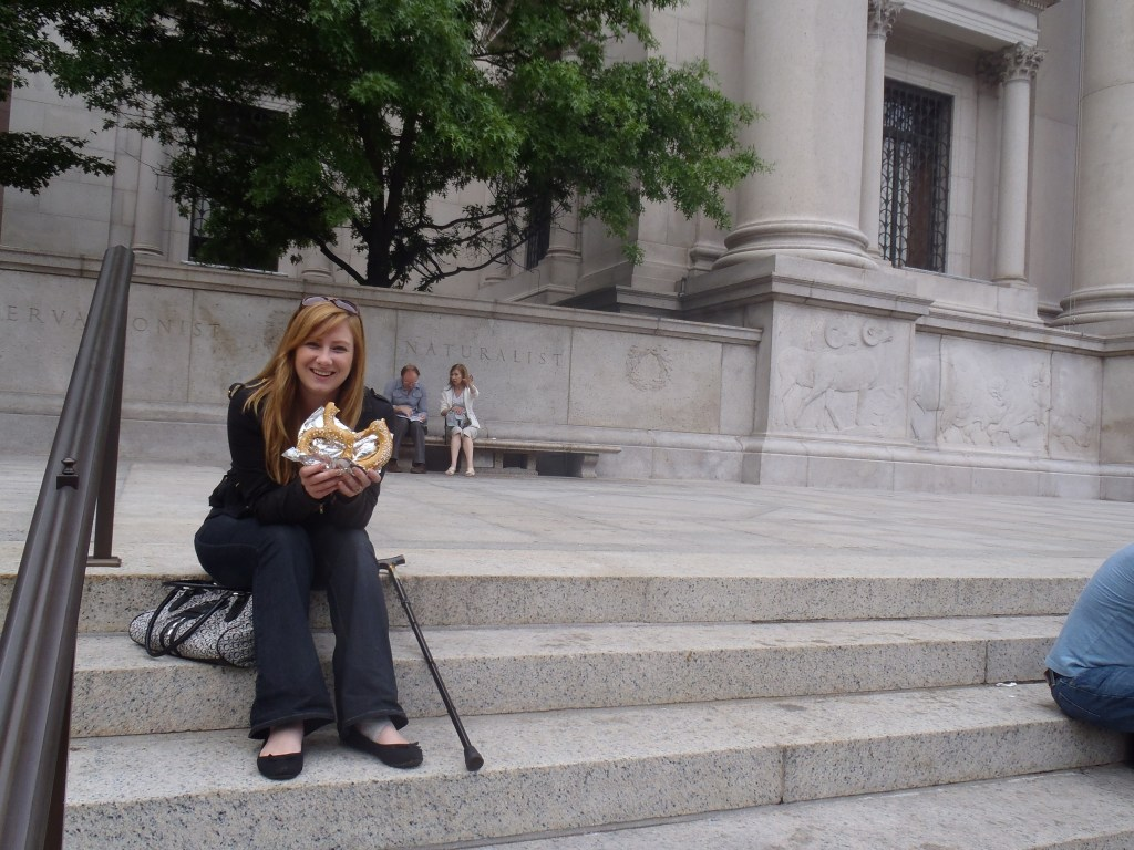 Never Ending Honeymoon | Eating a pretzel outside the American Museum of Natural History