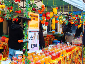 Never Ending Honeymoon | A colourful food stall in East London