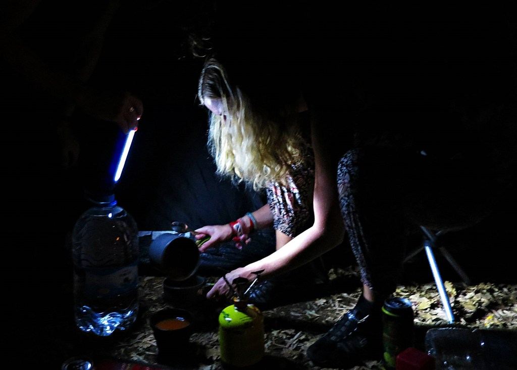 Camping in the dark and cooking