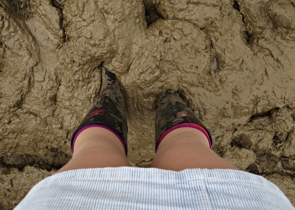 Glastonbury 2016 23 June Thursday beginning of wellies in the mud WS